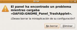 Error mientras se cargaba GNOME Panel